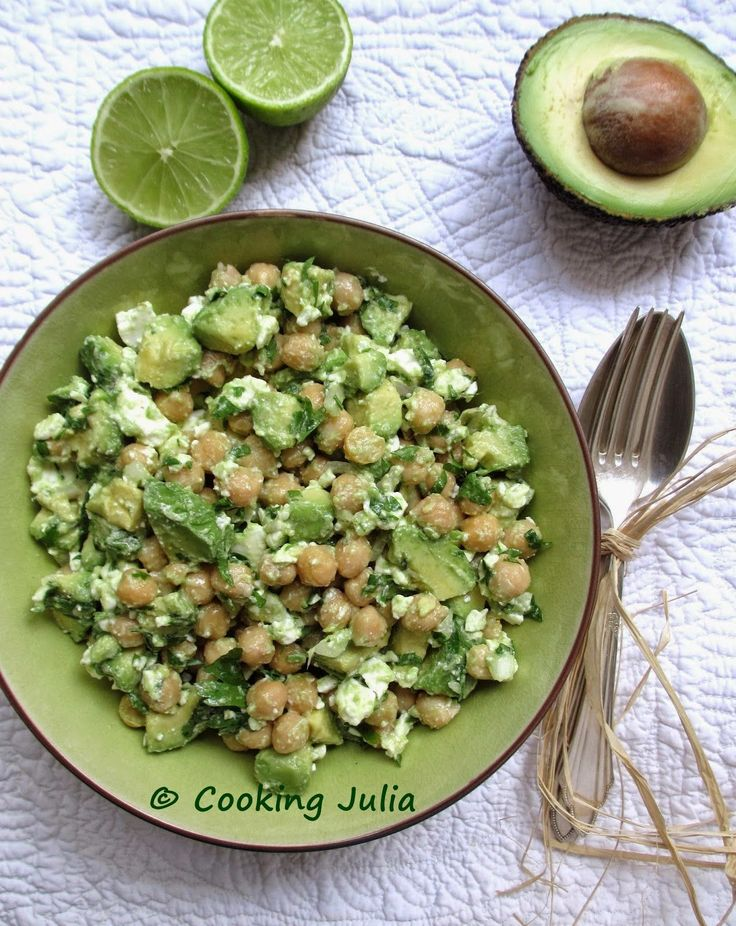 COOKING JULIA: SALADE DE POIS CHICHES, AVOCAT ET FETA