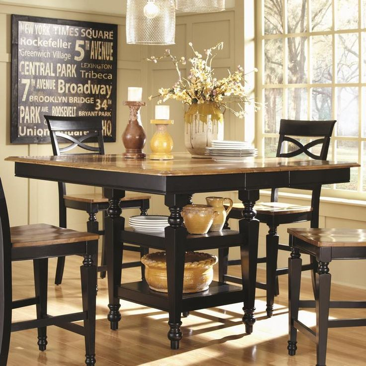 Black Round Counter Height Table | Coaster 104038 COUNTER HEIGHT TABLE (BLACK/OAK)