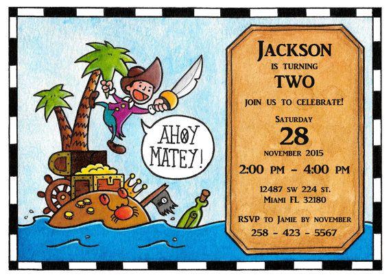 Pirate InvitationTreasure Island. Jake and by TheCutePaperStudio