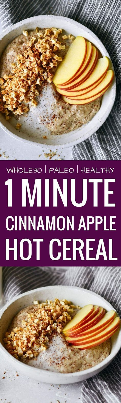 Instant apple cinnamon hot cereal. Rich and creamy whole30 breakfast cereal. Made in one minute! Can be made ahead. Paleo, gluten free, sugar free, and dairy free. A great alternative to malt-o-meal and oatmeal. Deliciously addicting and topped with apple
