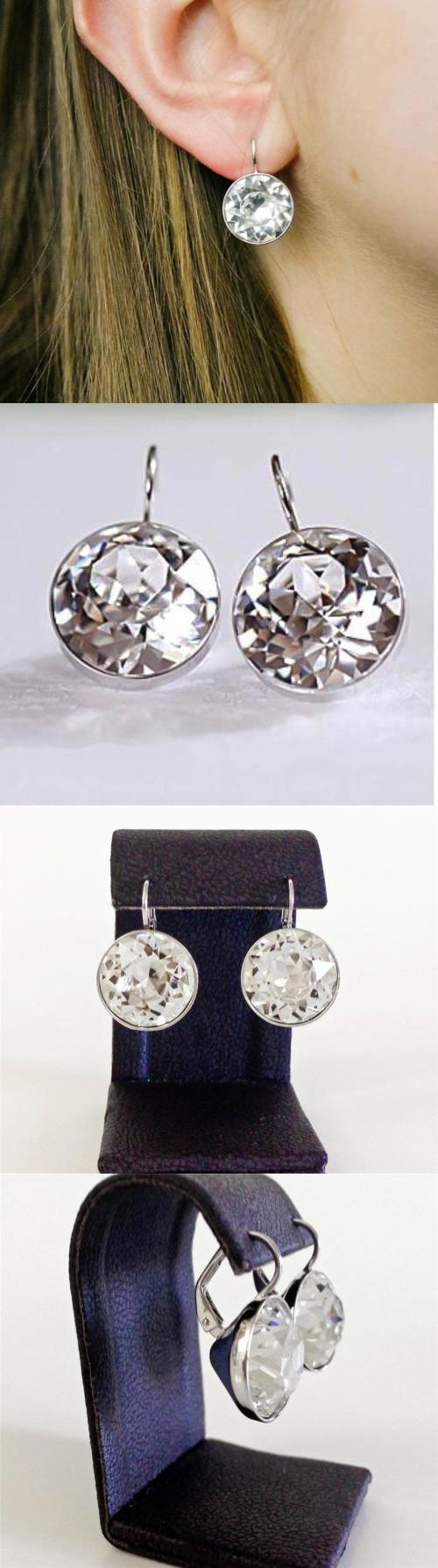 Earrings 50647: L Round Bella Earrings Clear Swarovski Crystal Gold Silver Plated Bezel Lever -> BUY IT NOW ONLY: $34.9 on eBay!
