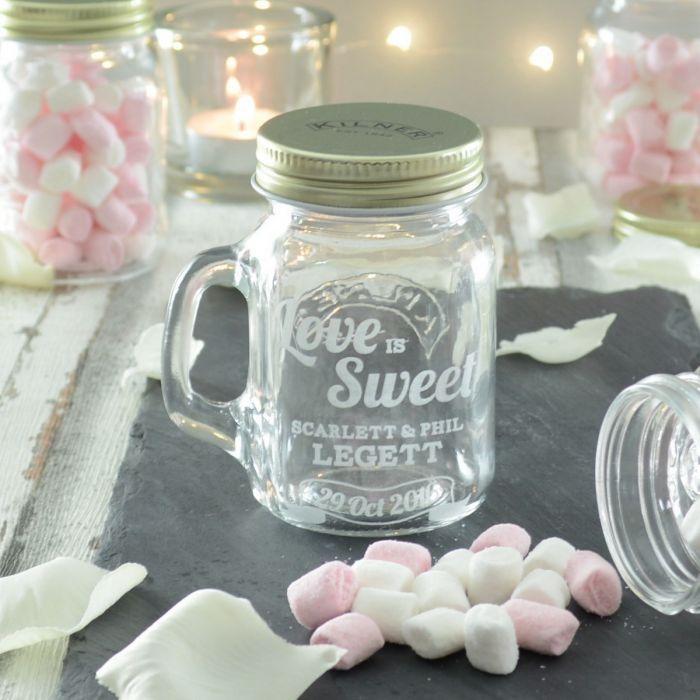 20 Love Is Sweet Personalised Wedding Favour Jars - Storage Jars - Glassware | Chalk & Cheese