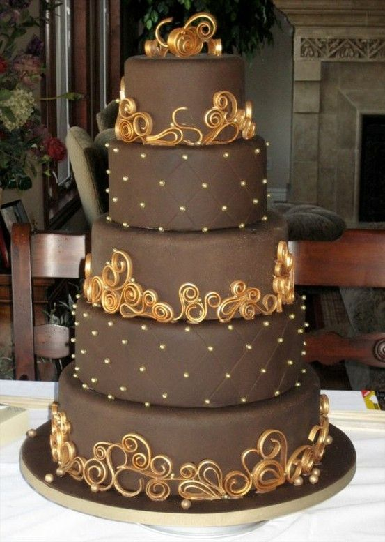 chocolate fondant with gold quilling... love this