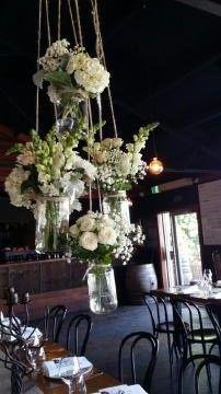 Hanging mason jars at Zonzo winery.