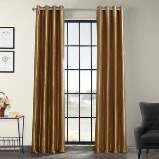 Exclusive Fabrics Grommet Blackout Faux Silk Taffeta 108-inch Curtain (Antique beige – 50 X 108)(Nylon, Solid)