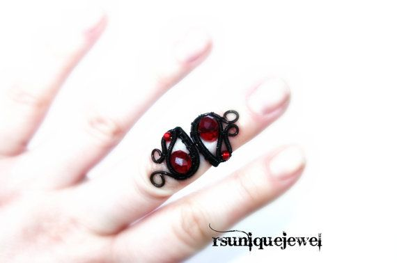 Wire wrapped knuckle ring Armour Ring Midi Ring by rsuniquejewel