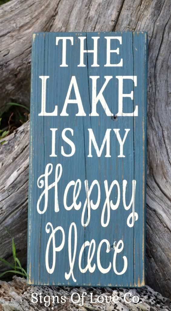 The Lake Is My Happy Place Wood Sign Lake House Home Decor Lakeside  Reclaimed Wood Hand