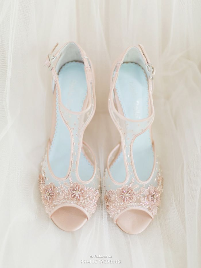 Delicate blush wedding shoes from Bella Belle featuring chic hand beaded details! » Praise Wedding Community