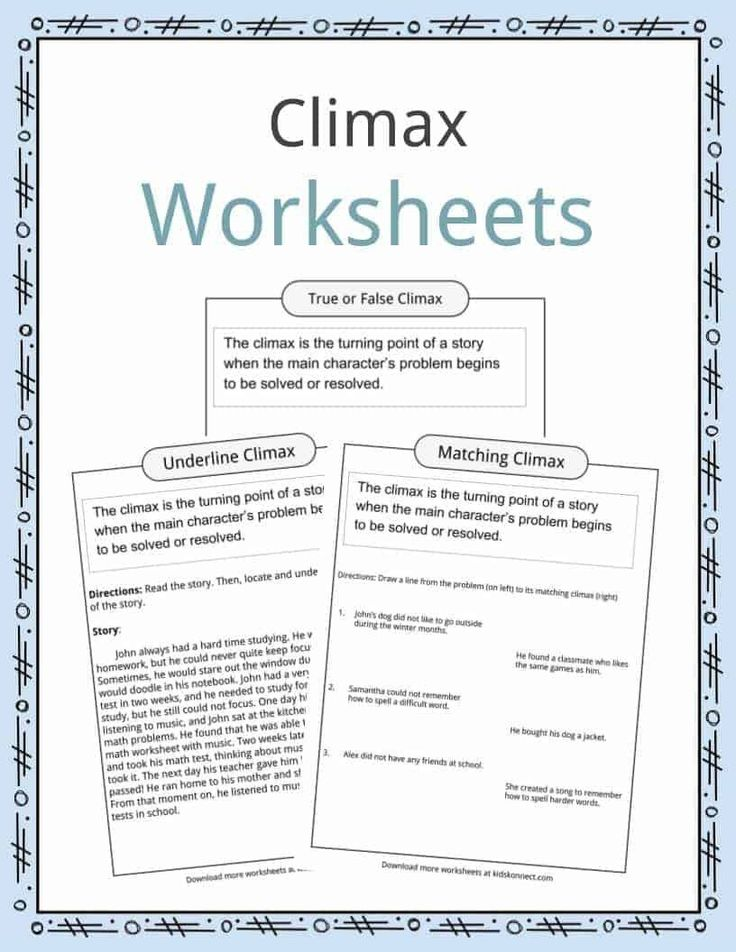 Story Structure Worksheets 4th Grade Climax Definition
