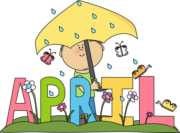 Clip Art for Each Month | Month of April Rain Clip Art Image - the word April in bright pastel ...