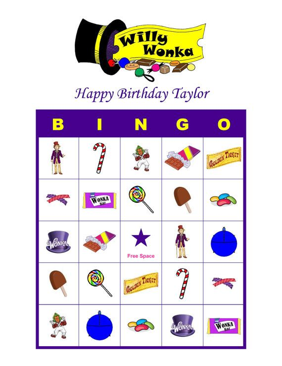 Willy Wonka and the Chocolate Factory Personalized Birthday Party Game Bingo Cards Delivered by Email, $5.00
