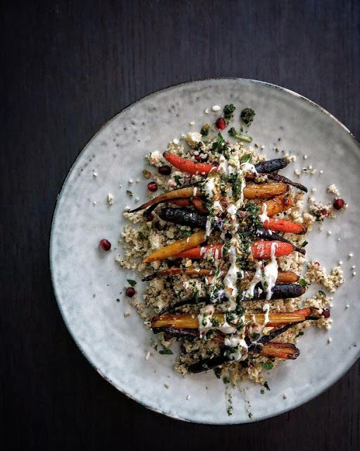 ROASTED RAINBOW CARROTS W/ HERBED COUSCOUS, POMEGRANATE AND PISTACHIOS