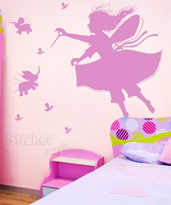 Αυτοκόλλητο τοίχου Νεράιδα και ζουζούνια - Διακόσμηση παιδικού δωματίου με wallstickers