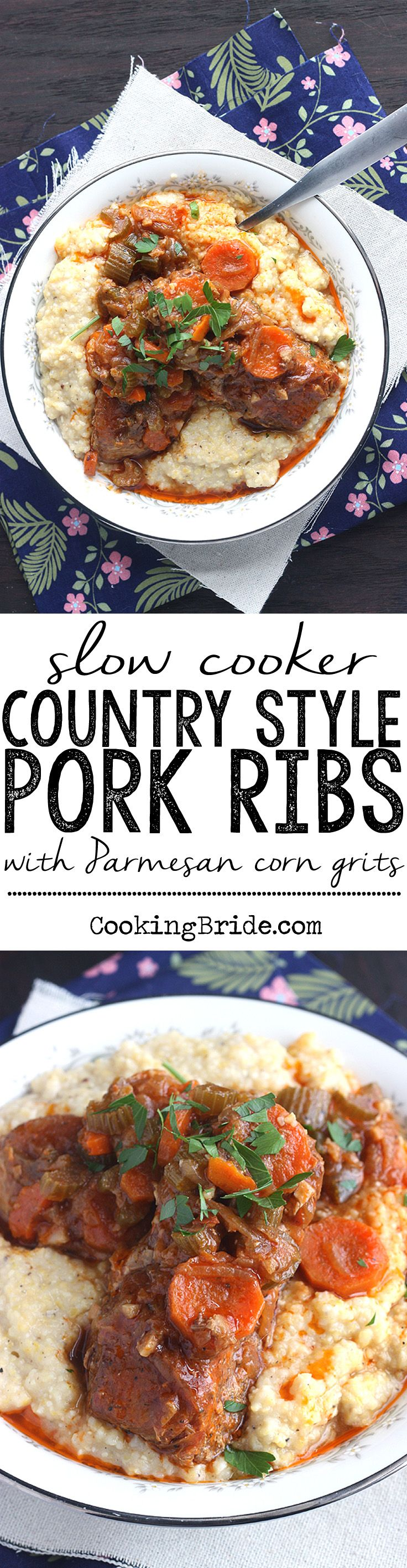 Fork tender slow cooker country style pork ribs are served over a bed of creamy Parmesan corn grits.