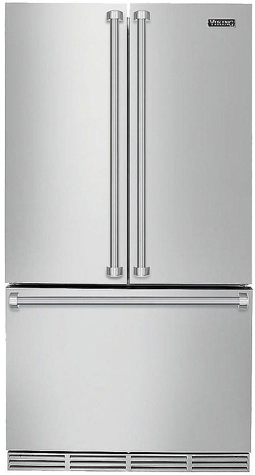 """RVRF336SS Viking 36"""" Freestanding French Door Cabinet Depth Refrigerator with Premium Air Purification System - Stainless Steel"""