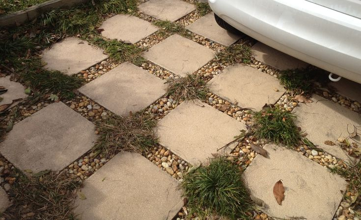Cheap And Easy Landscaping Ideas | someone else's great idea for a permeable driveway