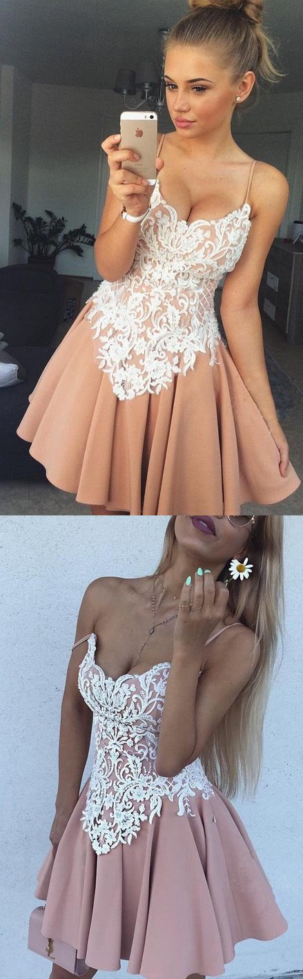 Sale Sleeveless White Homecoming Prom Dresses Admirable Short A-line/Princess Lace Backless Dresses WF02G59-386