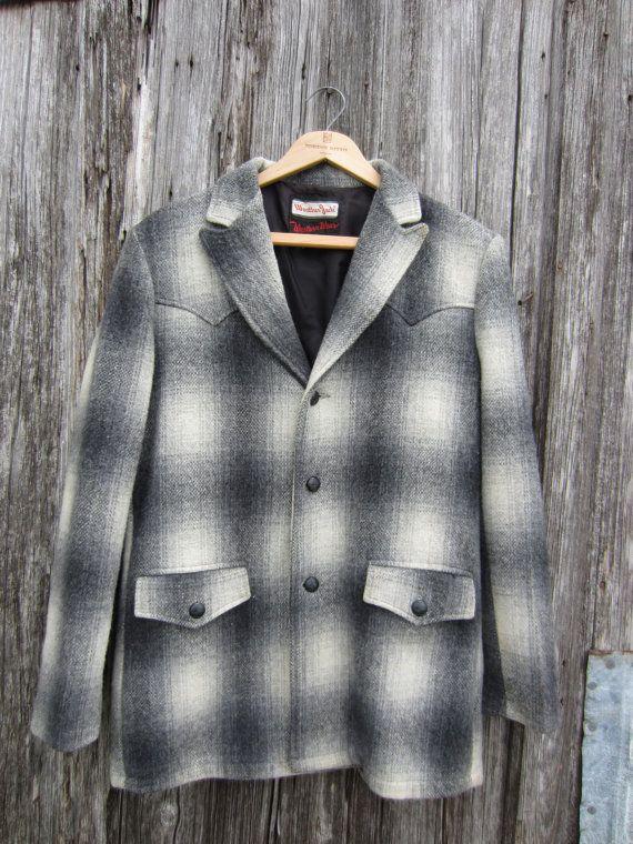 50s Plaid Wool Western Jacket, Men's M // Stockman's Weather Jack Western Wear // Cowboy Coat
