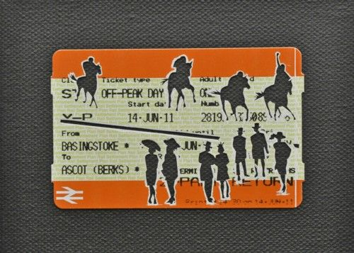 "Please Mind The Gap: Good To Firm Cut Out Train tickets on canvas 2011 5""x 4"" £190 including frame"