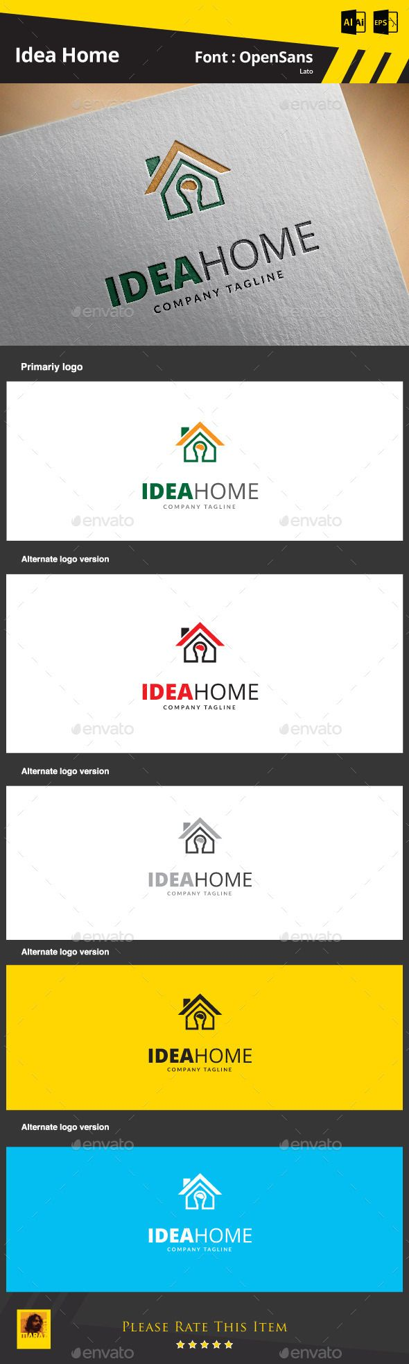 Idea Home Logo Template — AI Illustrator #housing #smart • Available here → https://graphicriver.net/item/idea-home-logo-template/9275233?ref=pxcr