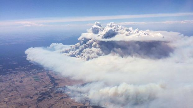 An aerial view of the Waroona bushfire.