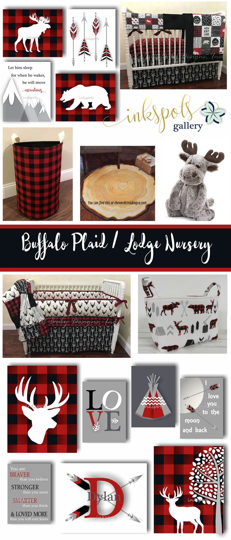 Warm and Cozy - It's the Buffalo Plaid Nursery Theme - Nothing says cozy and comfortable like buffalo plaid! Create a homey nursery for your little Lumberjack with some of these warm and snuggly nursery ideas. Customized print collections @etsy.com/shop/inkspotsgallery?ref=seller-platform-mcnav&search_query=buffalo+plaid.  Nursery bedding @etsy.com/listing/522447543.  Hamper @etsy.com/listing/557368303. Moose @https://shop.nordstrom.com/s/jellycat-woodland-babe-moose-stuffed-animal/4410483