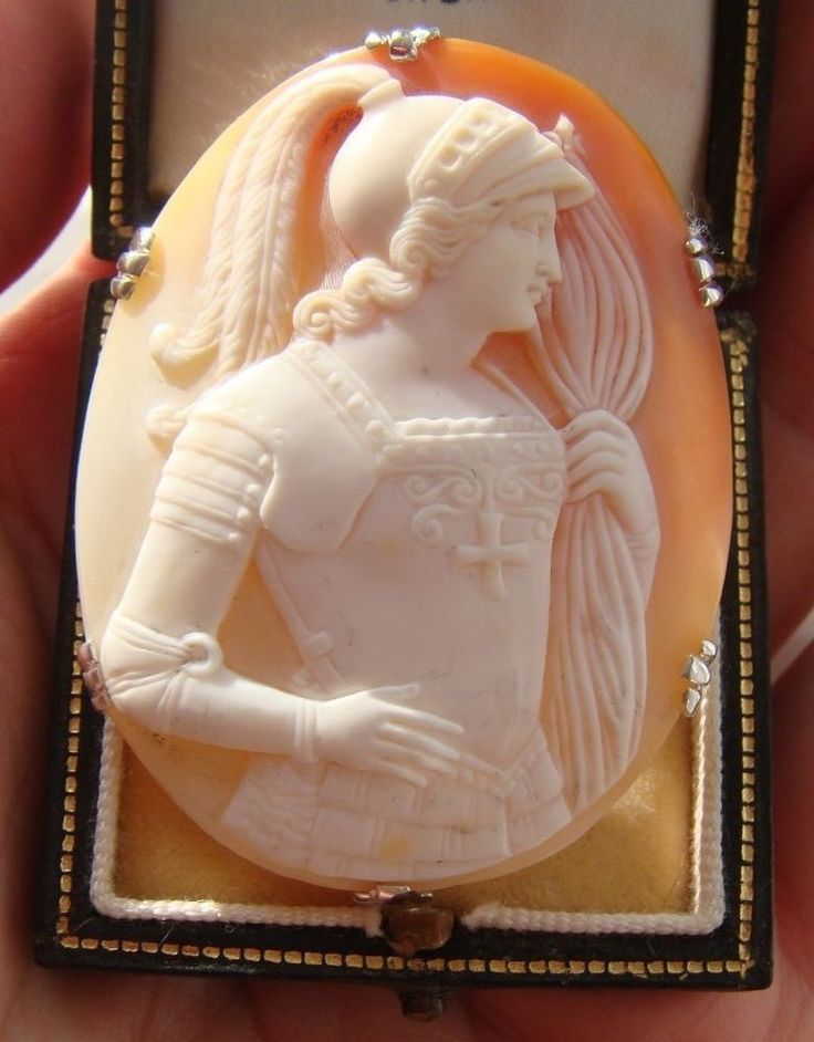 Antique Victorian Shell Cameo & Silver Frame Brooch of Joan of Arc