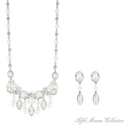 """""""Jubilee""""  Could anything be more beautiful than the combination of Swarovski clear crystal and lustrous pearls set in this breathtaking design?    Earrings with sterling silver posts and 18"""" neckpiece with 2"""" extension  Lead and nickel free £122.50"""