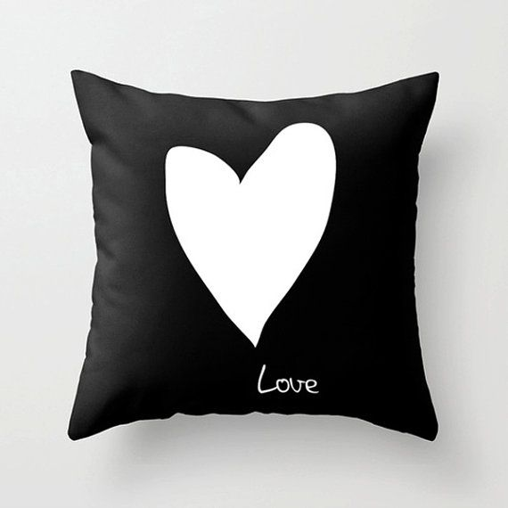 Love throw pillow - Black and white cushion by Dickens ink.