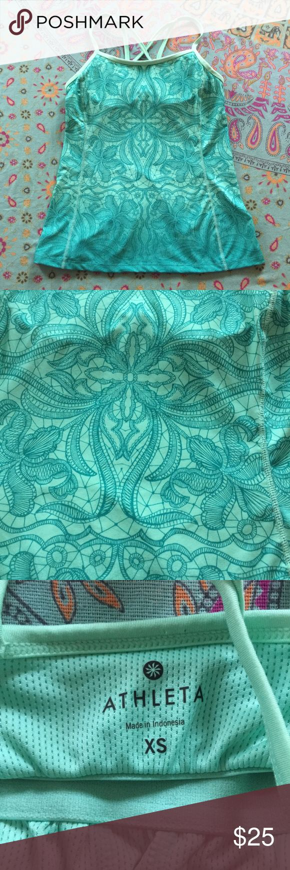 Athleta Teal Printed Harmonious Shelf Bra Top Athleta Teal Printed Harmonious Cami Yoga Shelf Bra Strappy Top Size XS MSRP $54 . OPEN TO REASONABLE OFFERS! Athleta Tops Tank Tops