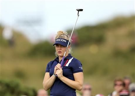 England's Charley Hull reacts after a putt on the 9th green during the third day of the Women's British Open golf championship on the Royal Birkdale Golf Club in Southport, England, Saturday, July 12, 2014. (AP Photo/Scott Heppell) ▼12Jul2014AP|Charley Hull back in the mix with a 66 http://bigstory.ap.org/article/charley-hull-back-mix-66 #Womens_British_Open_2014 #Charley_Hull