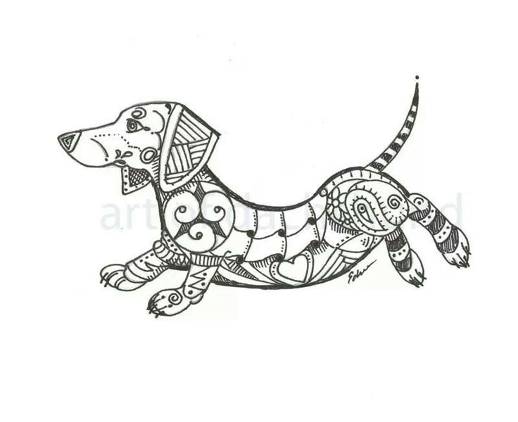 "Dachshund Zentangle ""DachsZen"" Approx. 8x10  $25 www.facebook.com/artbyeddy"