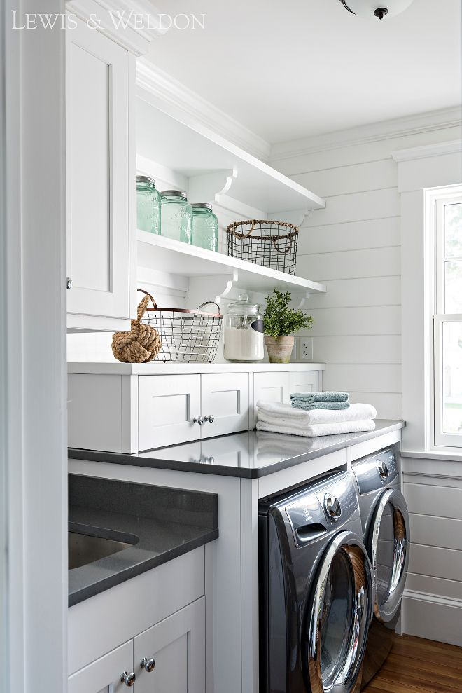 Laundry room with sink cabinet layout This