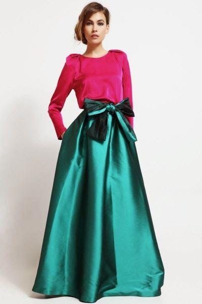 Modelo-aricia-conjunto-de-fiesta-falda-larga-de-saten-verde-con-lazo--blusa-rosa-mangas-volumen-invitada-boda-Apparentia-Collection.jpg (400×600)