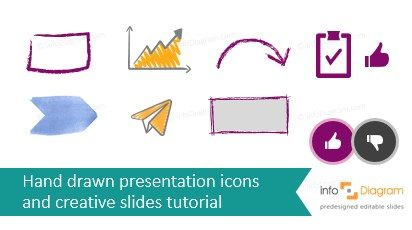 Free hand drawn icons and shapes for PPT. Plus a Inspiration Guide how to make creative slides (in PowerPoint or Keynote).  Sketch arrow for underlining text. Scribble chart. Pencil doodle arc arrow and rectangle for doodled diagrams. Flat icon of Like It in facebook style.