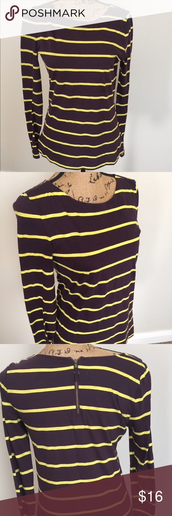 Ann Taylor LOFT Back Zip Striped T-Shirt Ann Taylor LOFT long sleeved t-shirt with back exposed zip detail. Color is deep Plum and yellow. Size small. Excellent condition with no signs of wear and no flaws. 💖I do not trade. I do not hold items. I ship within 2 business days of your order. I do accept reasonable offers. Thank you for looking! 🚭🐩B4 LOFT Tops Tees - Long Sleeve