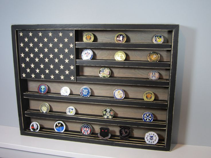 HUGE Military Challenge Coin Display Rack Holder Collector - USA Flag - Gift for Veterans - Army, Navy, Air Force, Marines Retired Reserves by AllyBoosCreations on Etsy https://www.etsy.com/listing/478218545/huge-military-challenge-coin-display