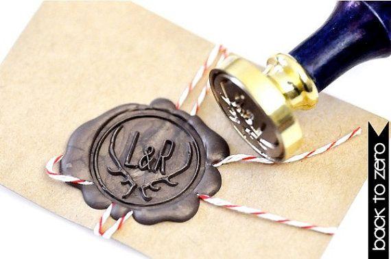 Personalized Deer Antler Wedding Double Initial Gold ...ha ha