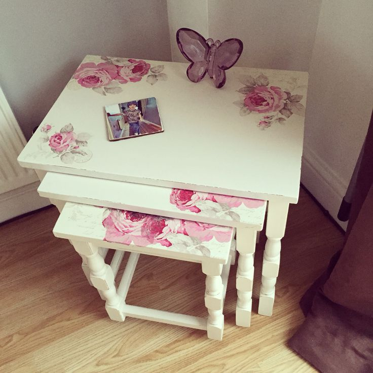 Upcycled nest of tables using chalk paint and napkins to decoupage