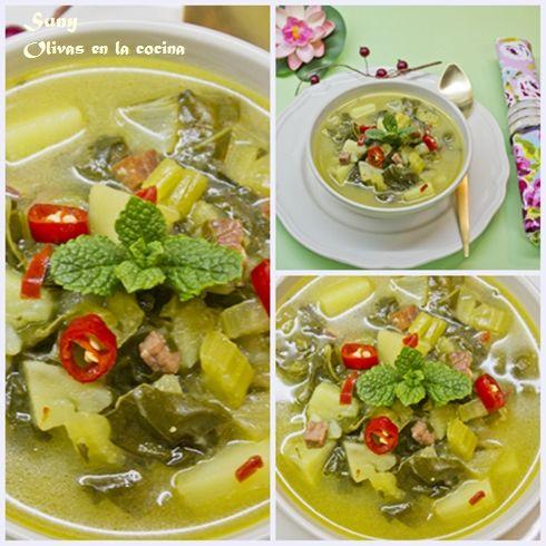 Sopa de acelgas con hierbabuena y jengibre.  http://rositaysunyolivasenlacocina.blogspot.com.es/2012/03/sopa-de-acelgas-con-hierbabuena-y.html