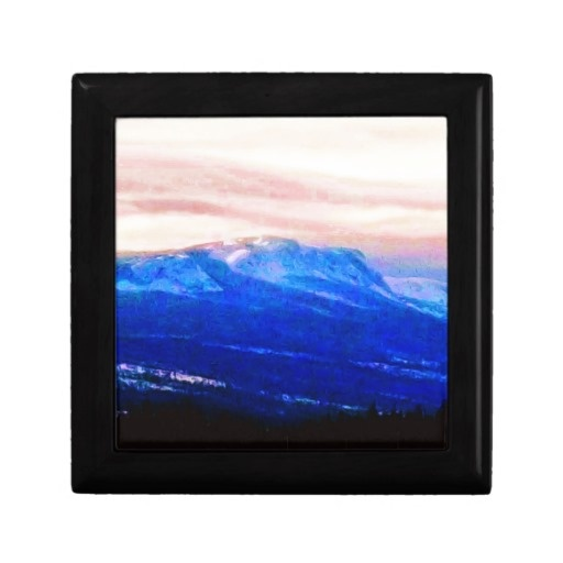 Wispy Snow in Mountains  Pink Skies Canada Jewelry Box