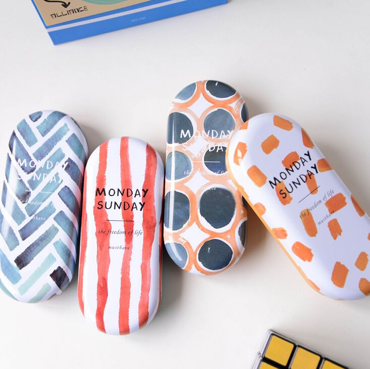 Creative Geometric Patterns Tin Glasses Case Desktop Storage Box School Office Supply Gift Stationery-in Stationery Holder from Office & School Supplies on Aliexpress.com | Alibaba Group