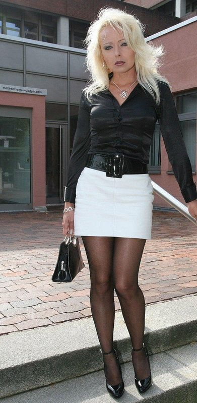 Woman mini mature skirt tight