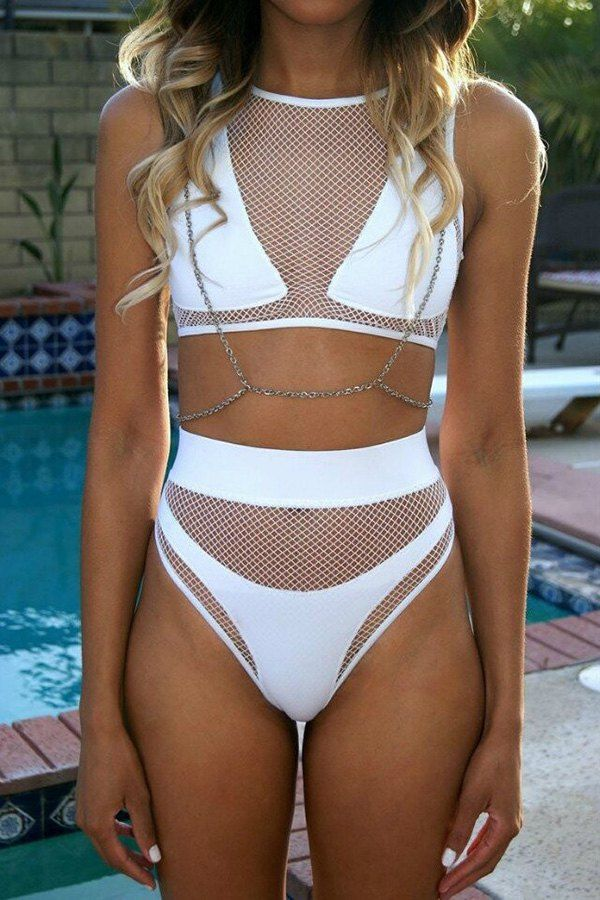 Mesh Design High-Waisted Two-Piece Swimsuit
