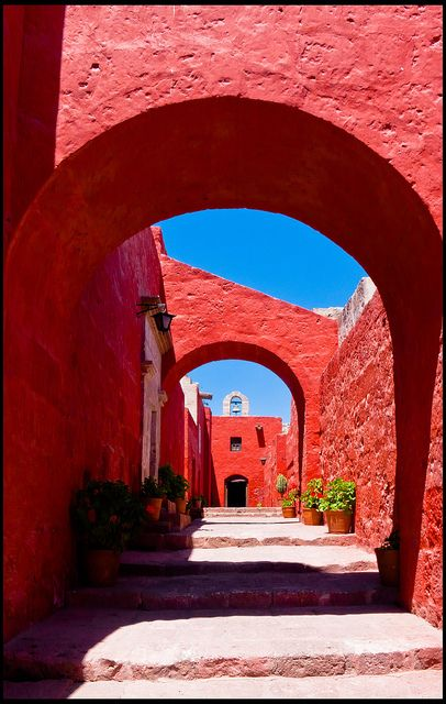 """Sevilla street, inside the Santa Catalina monastery of Arequipa, one of the most famous streets in this """"city inside a city,"""" Peru"""