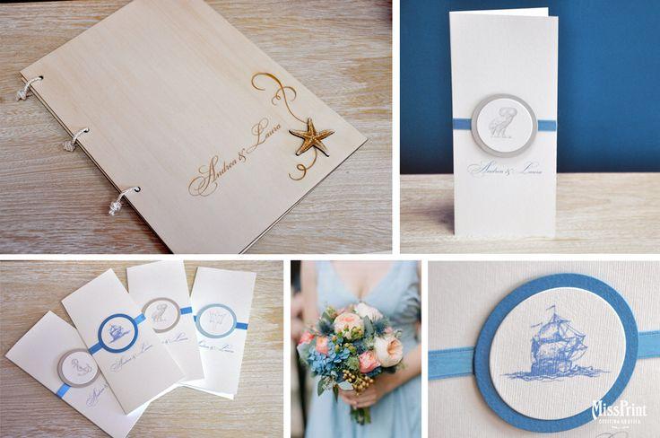 Wedding stationary Odysseus guestbook in legno e menù