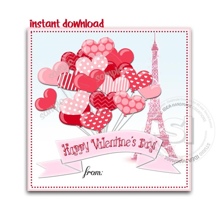 """Instant Download-Valentine's day Custom Printable Tags- 2.5"""" Tags-Happy Valentine's Day Personalized 2.5 inches Tags- Stickers DIY Favor Tags"""