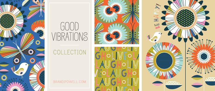 Good Vibrations Splendido set ispirazione stile geometrico con fiori, uccelli e farfalle. Un sacco di modello e colore. Collezione completo consiste di tre illustrazioni e sei modelli.