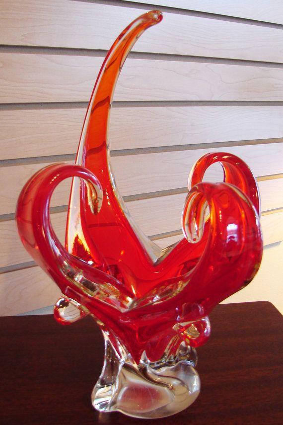Vintage chalet glass orange spike curl centerpiece hand