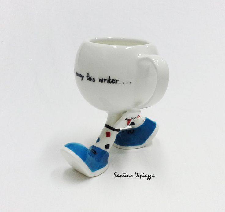The Authors Coffee Mug - Unique Walking Pottery - Quote Mugs - Hand Made Blue Coffee Cup - Hand Painted Tea Cup - Spotty Multi Coloured Sock by WalkingPottery on Etsy